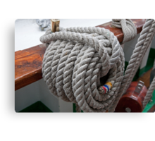A rope tied on Gloria, a Tall ship Canvas Print