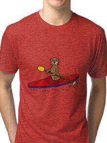 Awesome Sea Otter Kayaking Original Art Tri-blend T-Shirt