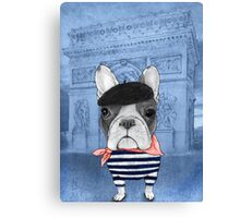 Frenchie With Arc de Triomphe Canvas Print