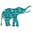 Retro Flowers Cute Turquoise Blue Elephant by artonwear