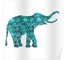 Retro Flowers Cute Turquoise Blue Elephant Poster
