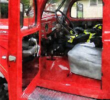 Fire Truck With Fireman's Uniform by Susan Savad