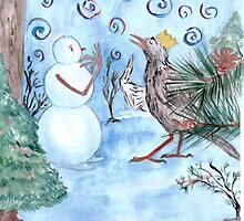Ilustration for a children's story. Snowman with a Starling by Gabriela Houston
