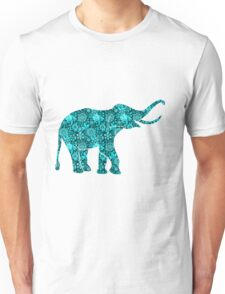 Retro Flowers Cute Turquoise Blue Elephant Unisex T-Shirt