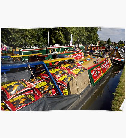 A cargo of coal loaded onto a traditional working narrowboat Poster