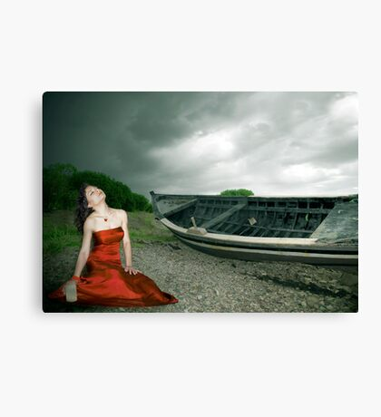 a girl and a boat Canvas Print