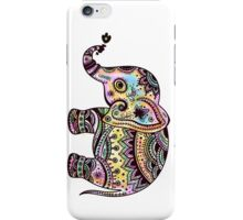 Cute Colorful Retro Flowers Elephant Illustration iPhone Case/Skin
