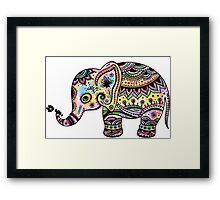 Cute Colorful Retro Flowers Elephant Illustration Framed Print