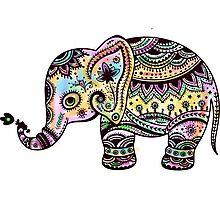 Cute Colorful Retro Flowers Elephant Illustration Photographic Print