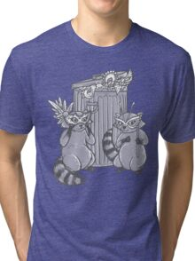 Fancy Racoon masks  Tri-blend T-Shirt
