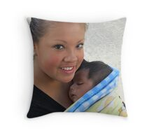 Felicity - young mother with newborn baby - Feliz - joven madre con su babé Throw Pillow