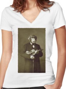 Chimp with a violin Women's Fitted V-Neck T-Shirt