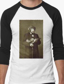 Chimp with a violin Men's Baseball ¾ T-Shirt
