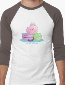 Cute Kitty Cat Macarons Men's Baseball ¾ T-Shirt