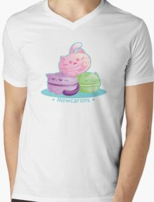 Cute Kitty Cat Macarons Mens V-Neck T-Shirt