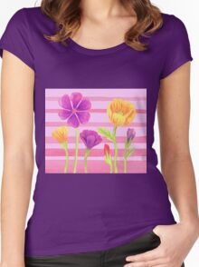 Happy Flowers In The Garden Women's Fitted Scoop T-Shirt