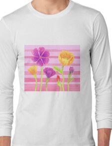 Happy Flowers In The Garden Long Sleeve T-Shirt