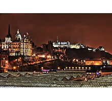 View to Edinburgh Castle Over Waverly Railway Station - Scottland Photographic Print