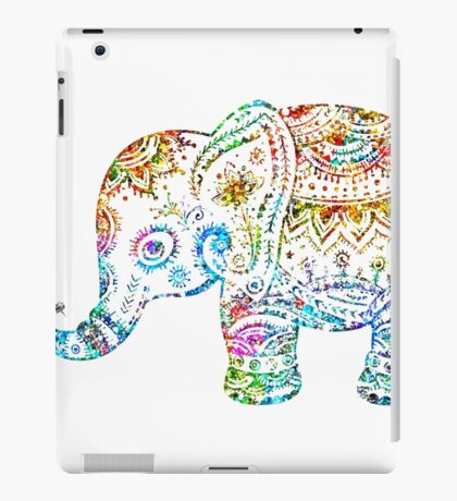 Cute Floral Elephant Glitter Texture iPad Case/Skin
