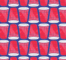 Red Solo Cup Pattern on Blue by holidayswaggs