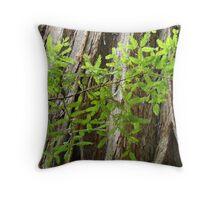 Redwood Tree Trunk Green Forest art prints Baslee Throw Pillow