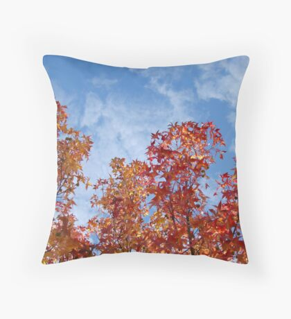 Autumn Trees art prints Blue Sky White Clouds Fall Leaves Throw Pillow