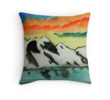 This may warm your heart on a cold night, watercolor Throw Pillow