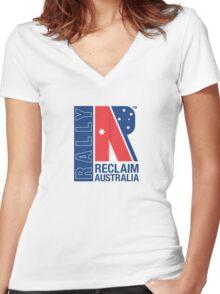 Reclaim Australia Logo Women's Fitted V-Neck T-Shirt