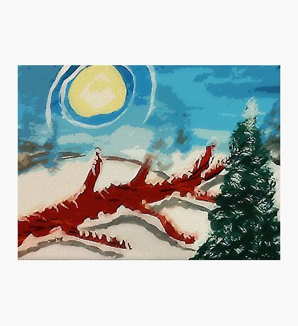 Dead tree in the snow, watercolor Photographic Print