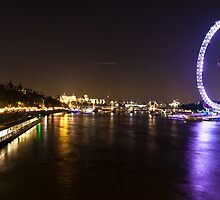 Thames And London Eye At Night by Ken  Hurst
