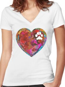 Dog Art - Puppy Love 2 - Sharon Cummings Women's Fitted V-Neck T-Shirt
