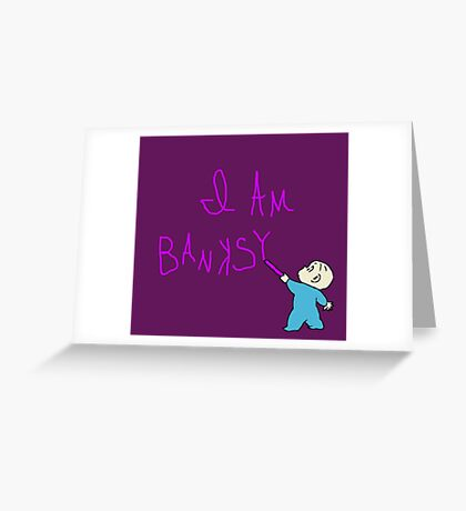 Banksy and the purple crayon Greeting Card
