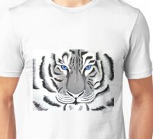 White Tiger with Piercing Blue Eyes Unisex T-Shirt