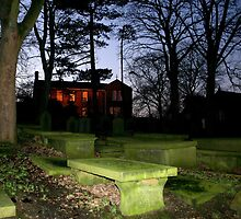 The Brontë Parsonage, from Haworth Cemetery. by Alison Scotland