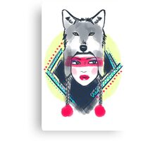 Girl with wolf hat Canvas Print