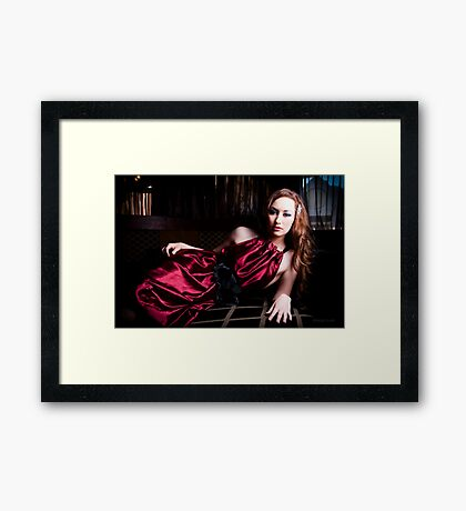 Kate at the Picture Lounge - Red Version Framed Print