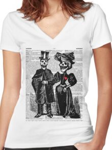 Calavera Couple Women's Fitted V-Neck T-Shirt
