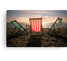 Evening walk on the beach Canvas Print