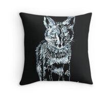Snow Fox Cub Throw Pillow