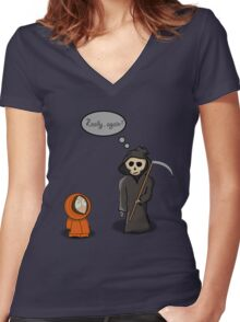 Kenny - Meet with Death Women's Fitted V-Neck T-Shirt