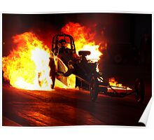 Flaming Burnout at Dragstalgia, Santa Pod Poster