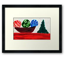 Bowl of ornaments, watercolor Framed Print
