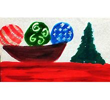 Bowl of ornaments, watercolor Photographic Print