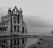 Whitby Abbey in black and White by pauline hamilton