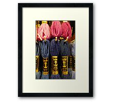 Wonderful pink and blue tapestry wool Framed Print