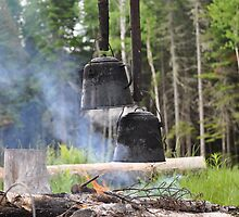 Blackened Kettles on Campfire in Northern Maine by Beatz22