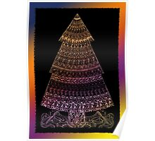 Christmas Tree Coloured Drawing Poster