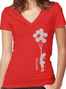 Banksy - Little girl with balloons Women's Fitted V-Neck T-Shirt