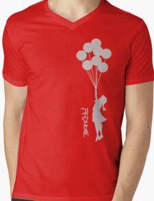 Banksy - Little girl with balloons Mens V-Neck T-Shirt