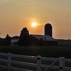 sunset behind silo by Jennifer P. Zduniak